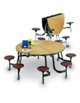 Round Mobile Cafeteria Stool Tables